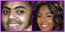 Singing Superstar Ashanti with and without makeup