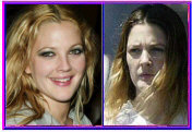 Drew Barrymore With and Without Makeup