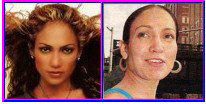 Jennifer Lopez with and without makeup